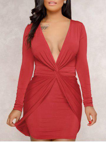 Discount Plunge Twist Front Bodycon Dress