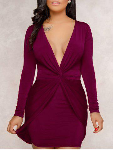 Outfit Plunge Twist Front Bodycon Dress