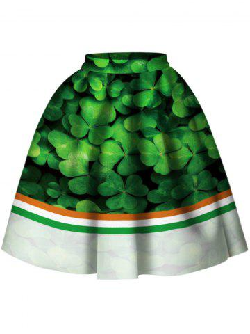 Best High Waist Leaf Print Skirt