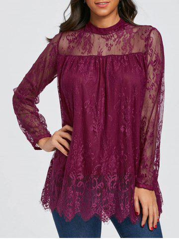 Hot Mock Neck Sheer Lace Blouse