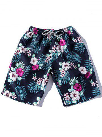 Sale Drawstring Printed Hawaiian Shorts