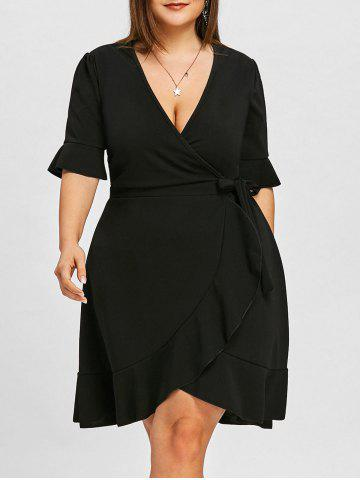 Fashion Flounce Flare Sleeve Plus Size Wrap Dress