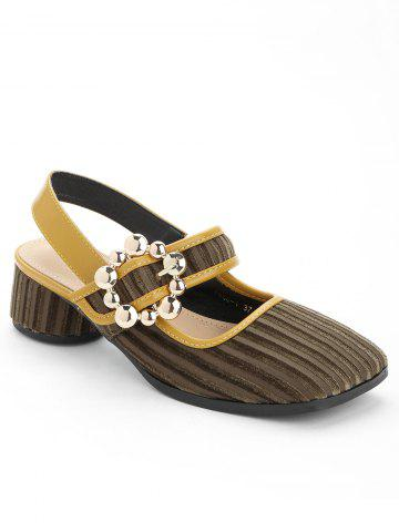 Fashion Block Heel Beading Sandals