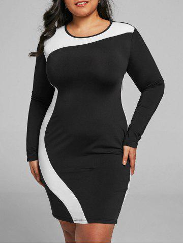 Sale Hit Color Plus Size Tight Dress