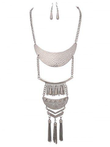 Store Alloy Teardrop Fringed Chain Necklace and Earring Set