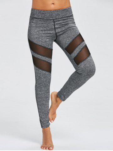 Cheap Marled Mesh Panel Workout Leggings