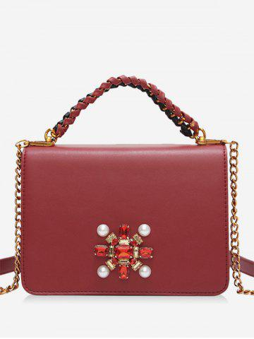 Trendy Faux Pearl PU Leather Crossbody Bag