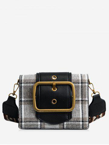 Outfits PU Leather Printing Straps Plaid Shoulder Bag