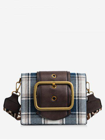 Shops PU Leather Printing Straps Plaid Shoulder Bag