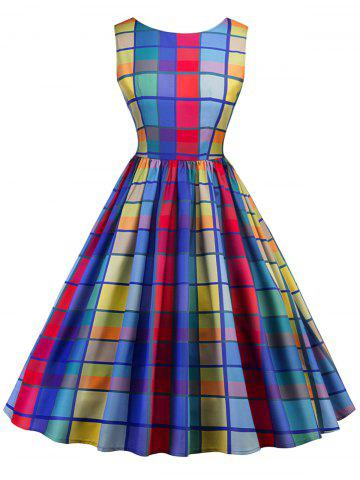 Cheap Checked Midi Fit and Flare Dress