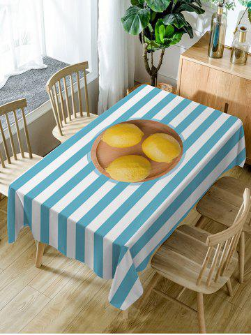 Chic Lemon On Stripe Pattern Waterproof Dining Table Cloth