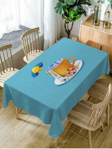 Hot Sea In The Cup Pattern Waterproof Dining Table Cloth