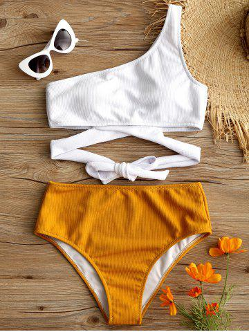 Shop High Leg One Shoulder Two Tone Bikini