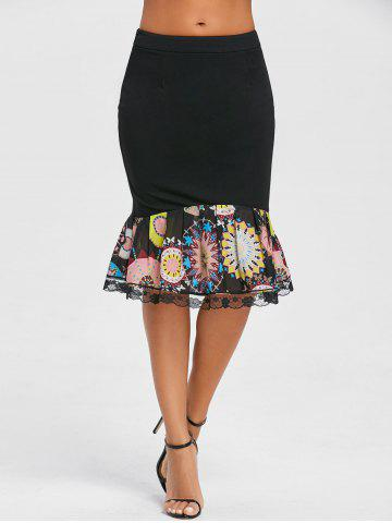 Chic Print Trimmed Mermaid Bodycon Skirt