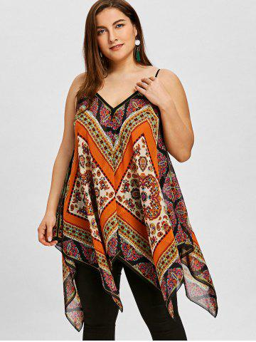 Plus Size Tribal Print Handkerchief Hem Tank Top