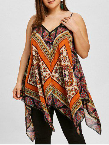 Latest Plus Size Tribal Print Handkerchief Hem Tank Top