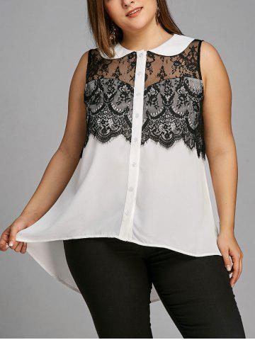 Cheap Plus Size Sleeveless Lace Trim High Low Blouse
