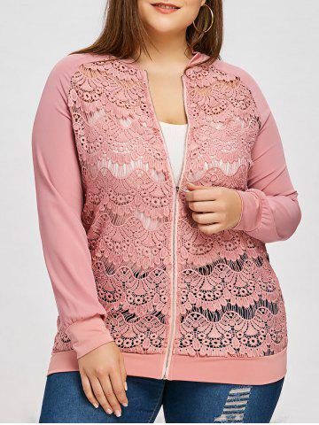 Cheap Lace Panel Plus Size Zip Up Jacket