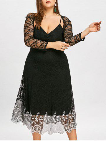 Chic Plus Size Contrast Lace Slip Dress with Capelet