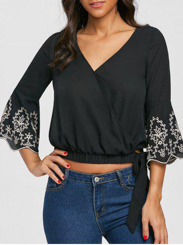 V Neck Embroidery Flare Sleeve Blouse
