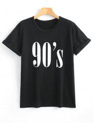 Letter Print Round Neck Flanging T-Shirt -