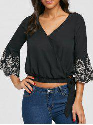 V Neck Embroidery Flare Sleeve Blouse -