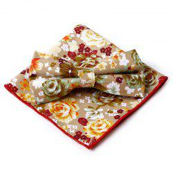 Unique Flourishing Floral Pattern Bow Tie and Handkerchief -