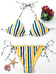Tie Back Neck Striped Bikini Set -
