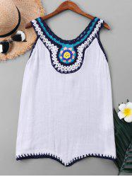Crochet Neck Sleeveless Cover Up Top -