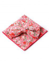 Vintage Blossoming Floral Bowtie and Handkerchief -
