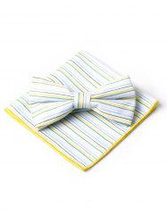 Simple Striped Pattern Bow Tie and Handkerchief -
