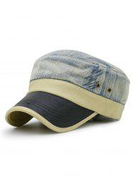 Vintage PU Leather Brim Military Cap -