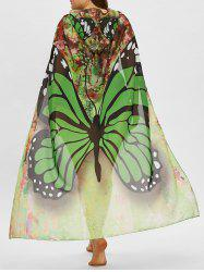 Butterfly Print Plus Size Sheer Beach Cover Up -