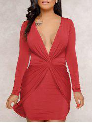 Plunge Twist Front Bodycon Dress -
