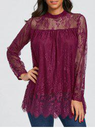 Mock Neck Sheer Lace Blouse -