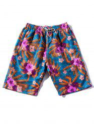 Flowers and Leaves Beach Shorts -