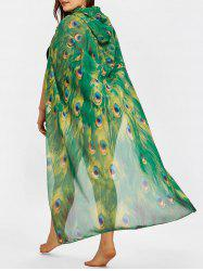 Peacock Feather Print Plus Size Sheer Cover Up -