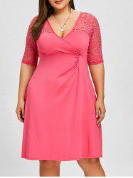 Translucent Lace Insert Plus Size Surplice Dress -
