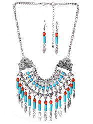 Bohemian Alloy Engraved Beads Necklace and Earring Set -