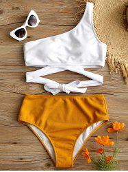 High Leg One Shoulder Two Tone Bikini -