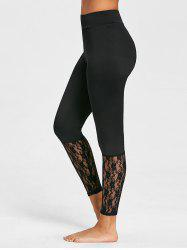 High Waist Lace Panel Leggings -