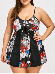 Plus Size Tie Front Floral Skirted Tankini Swimsuit - Black - 5xl