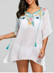 Chiffon Batwing Sheer Embroidery Cover Up -