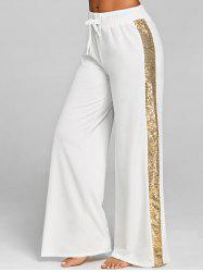 Sequined Drawstring Wide Leg Pants -