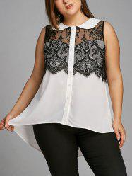Plus Size Sleeveless Lace Trim High Low Blouse -
