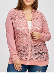 Lace Panel Plus Size Zip Up Jacket -