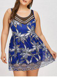 One Piece Mesh Plus Size Skirted Swimsuit -