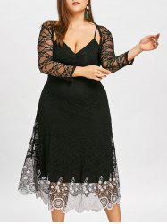 Plus Size Contrast Lace Slip Dress with Capelet -