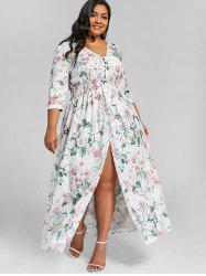 Plus Size Floral Front Slit Floor Length Dress -