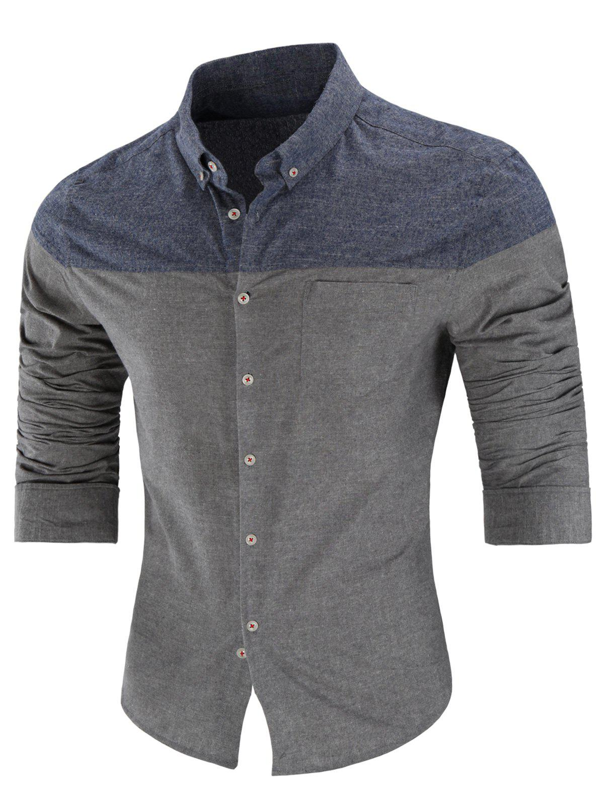 Store Long Sleeve Two Tone Button Down Shirt